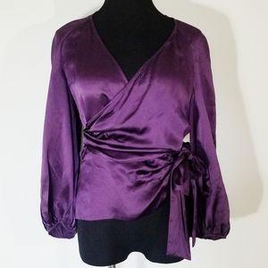 Diane Von Furstenberg Deep Purple Silk Wrap Blouse